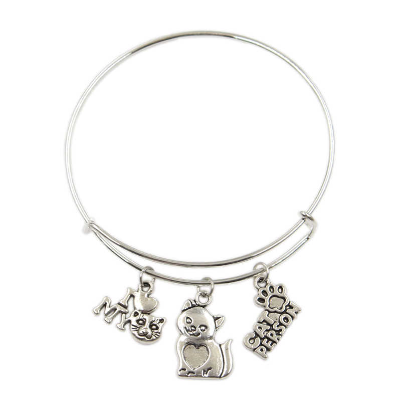 I love my cat person cat friend paw Pendant Diy Handmade Charms Men Women Bangles Jewelry Souvenir For Gift