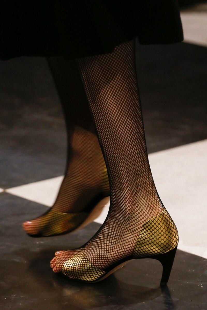 Chaussures de piste femme Sexy résille bas sandales talons hauts femme bout ouvert sandales Designer femme chaussures discothèque chaussures de fête