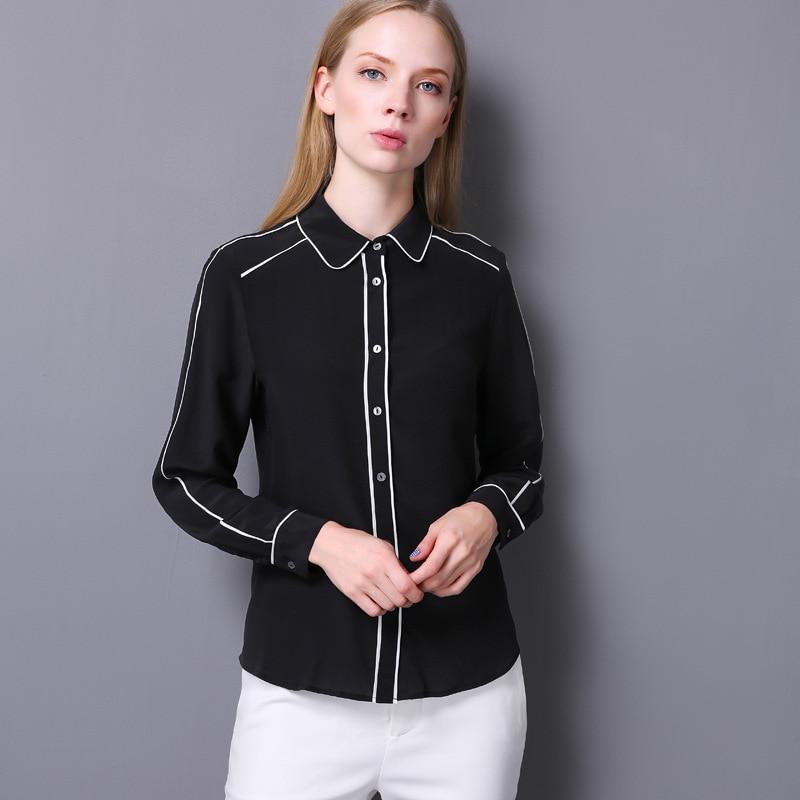 100% Crêpe De Soie Chemise Pur Crêpe De Soie Blouses Femmes Shirts Office Lady Chemises Nouveau Printemps et D'été Style - 2