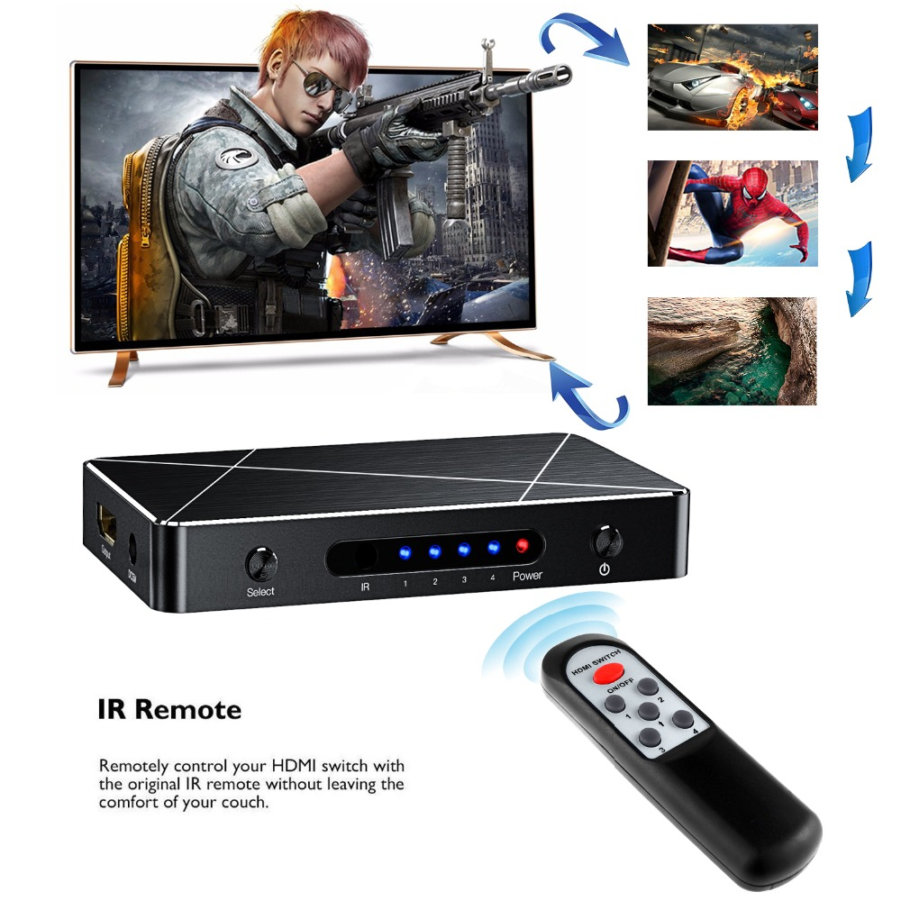 4 port HDMI Switch 2.0 SGEYR 4 to 1 HDMI Switcher Switch  4 in 1 out 4Kx2K/3840X2160@60Hz HDR HDCP 2.2 for PC Laptop XBOX 360