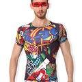 Marca masculino Roupa ao ar livre de Secagem Rápida de Manga Curta Roupas Íntimas Assentamento T Camisa Exercício Musculação Compressão Calças Justas 009