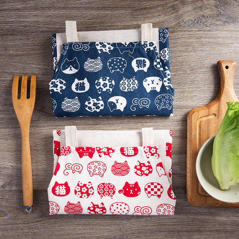 1 Ps Cute Cat Printed Cooking Dining Room Kitchen BBQ Restaurant Cleaning Pocket Waitress Housework Waterproof oil proof Aprons