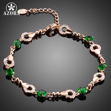 AZORA Elegant Fashion Jewelry Rose Gold Color Round Tiny Crystal With Green Cubic Zirconia Bracelet TS0075