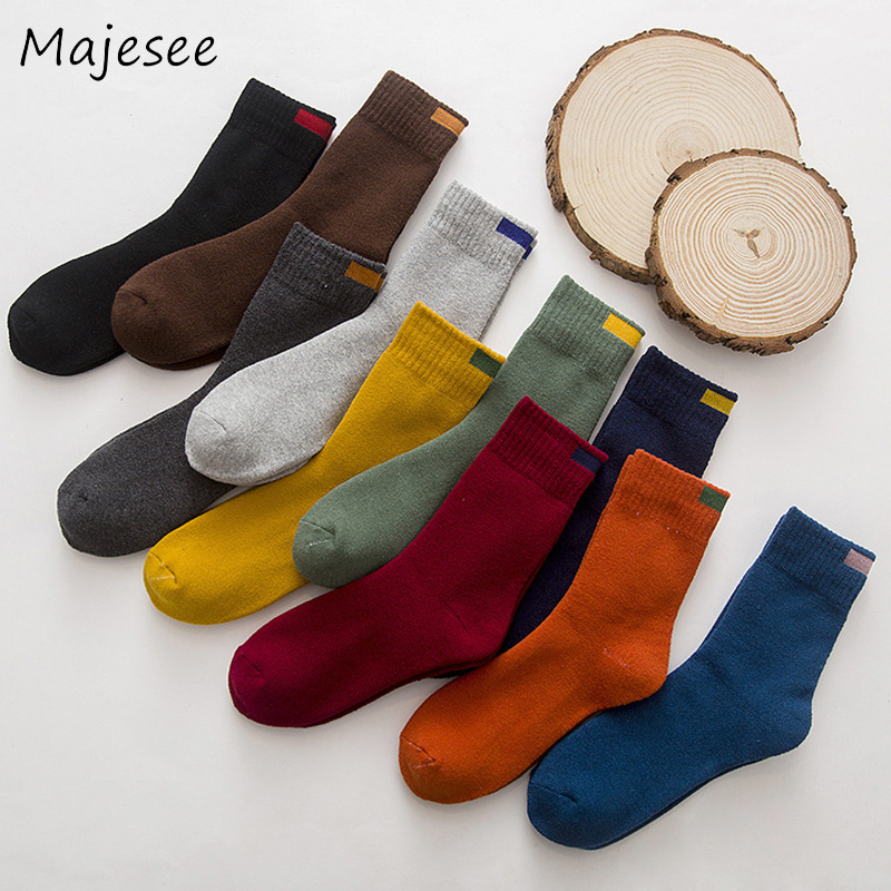 New Cotton Men Solid Socks Casual Thicker Winter Sock Trendy Soft Male Fashion Colorful Breathable Warm Mens Deodorant 7 Colors