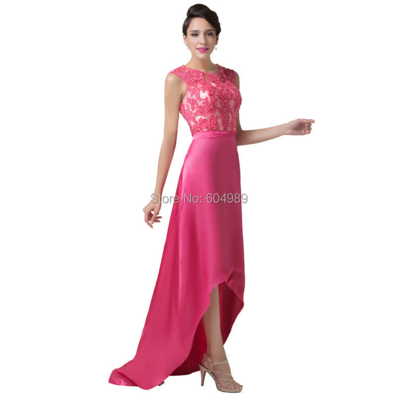 Elegant Sleeveless Deep Pink Satin Lace Evening Dress See Through ...