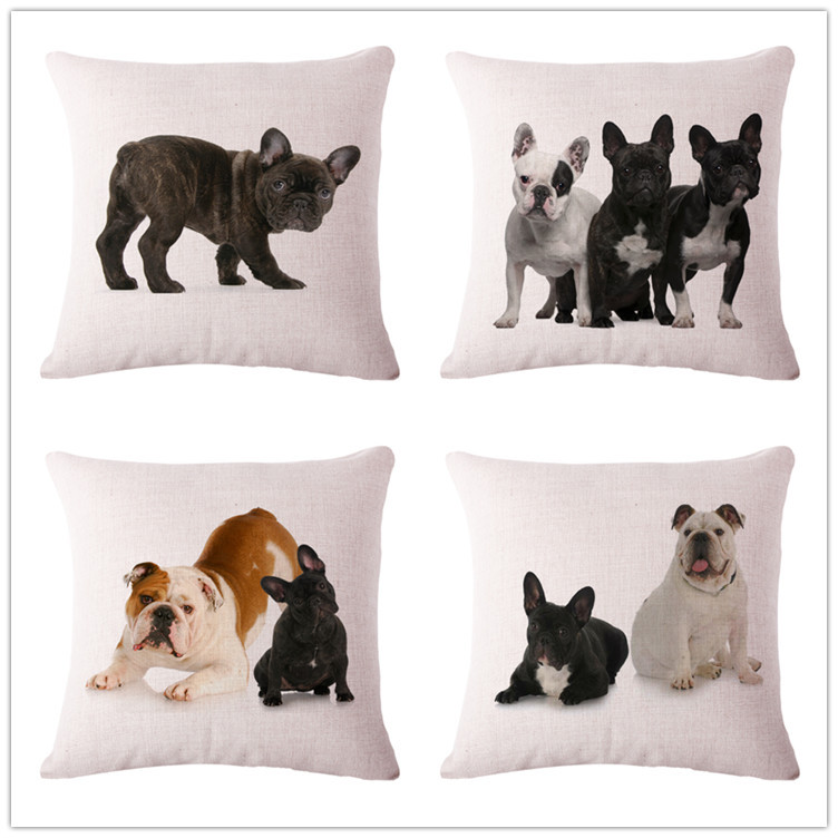 No Inner Filling Wholesale 100% New Cotton Linen Cute Dog Manufacturers Sales Cushion Pillow on sofa for home decoration