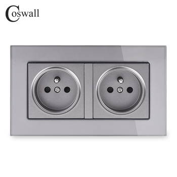 Coswall 16A Double French Standard Wall Socket Crystal Glass Panel Power Outlet Grounded With Child Protective Door Grey Black - discount item  42% OFF Electrical Equipment & Supplies