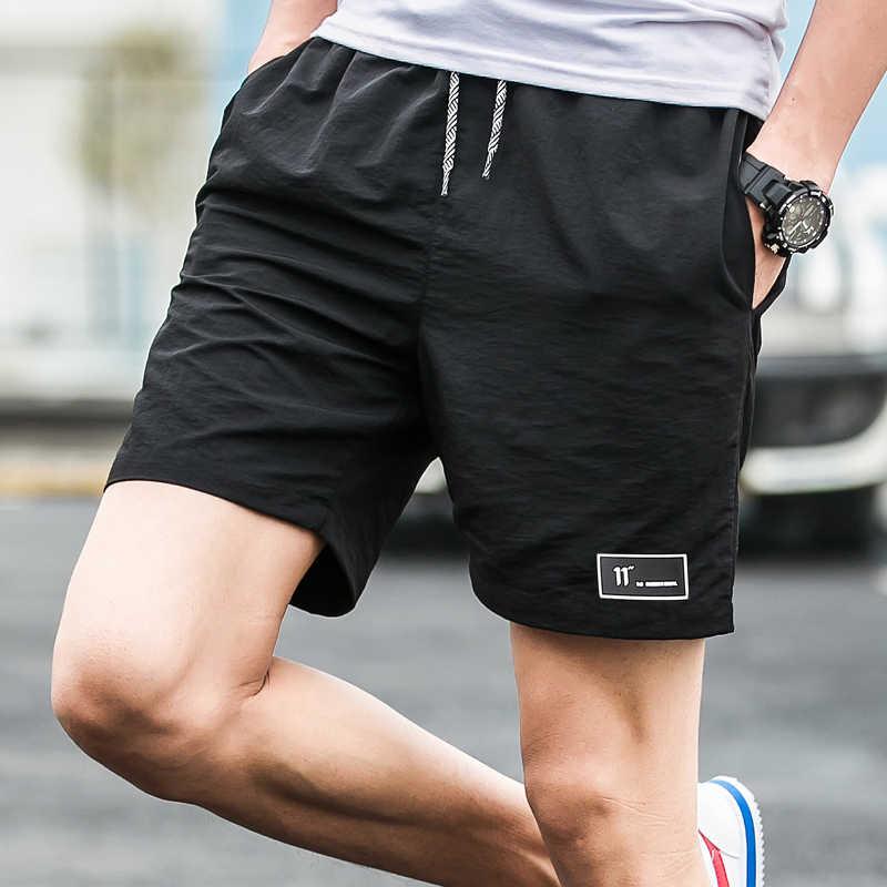 2019 letnie szorty mężczyźni kobiety szybkoschnący fitness krótki homme spodenki plażowe na co dzień męskie szorty boardshorty, elastyczny pas, jednolity kolor,