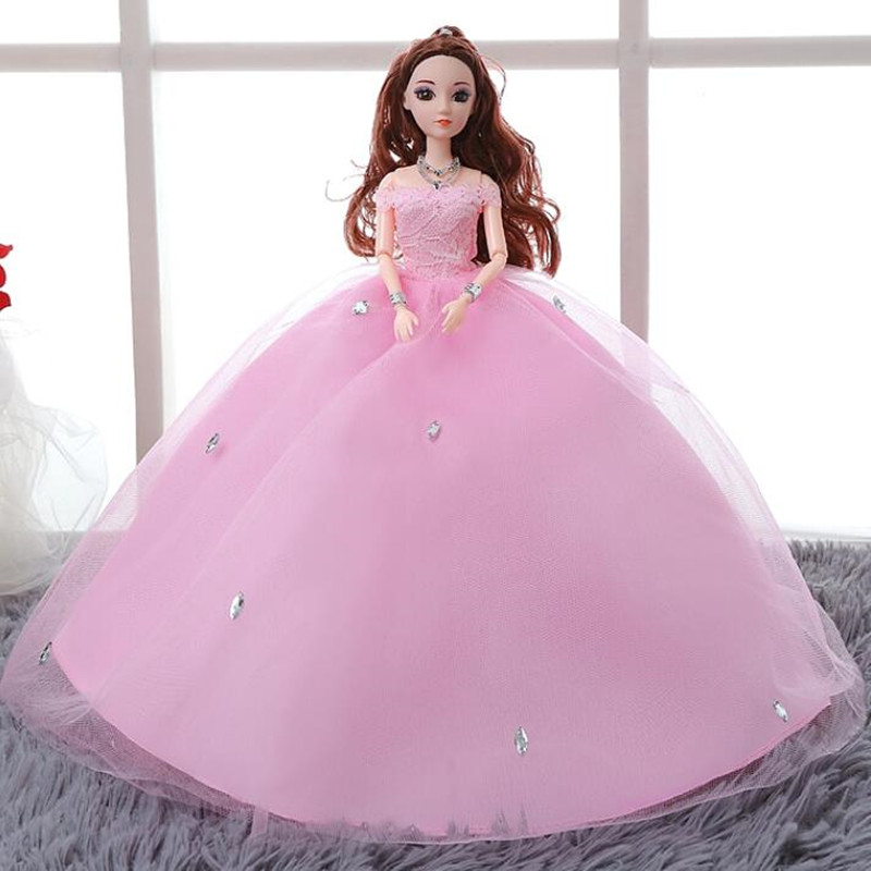 CXZYKING Large Size Beautiful 3D Real Eye Barbie Doll Wedding Dress 2017 Fashion Toys For Kids Girls Play House Toy In Dolls From Hobbies On