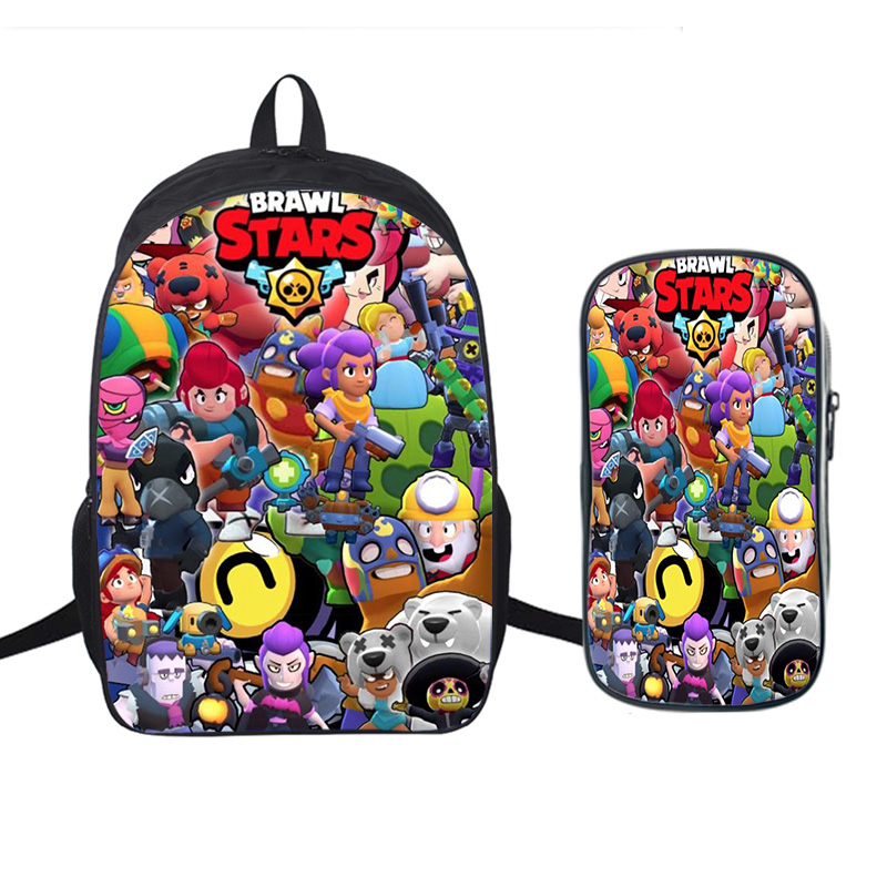 Brawl Stars Backpack Pencil-Case Rucksack Laptop School-Bags Girls Traval Students 16inch