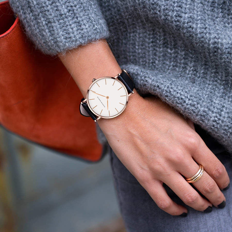 Dropshipping High Quality Rose Gold Dial Watch Men Leather Waterproof Wristwatch Women Dress Fashion Japan Quartz Movement Saat
