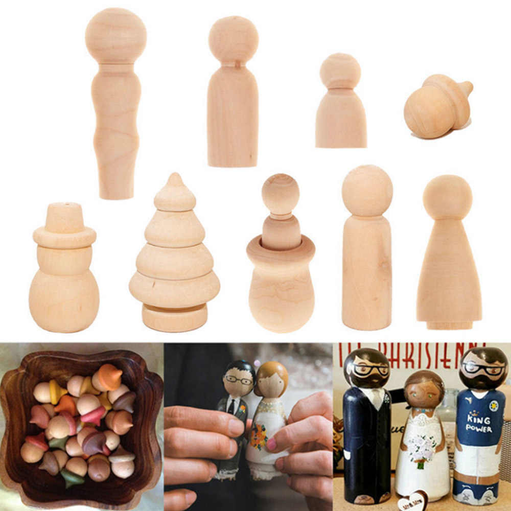 10pcs/Set Unfinished Wood Blank DIY Family People Wooden Peg Dolls Bodies for Arts Crafts