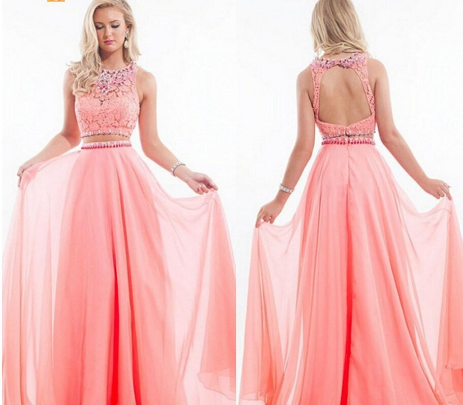Pech Pink Long Sleeve Prom Dresses