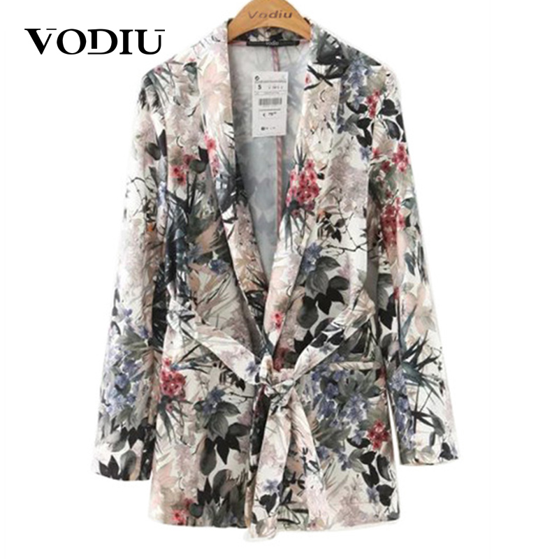 Floral Vintage Women Blazers 2019 New Ladies Outwear Sashes Jackets Casual Notched Collar Long Sleeves Pocket Coat High Quality