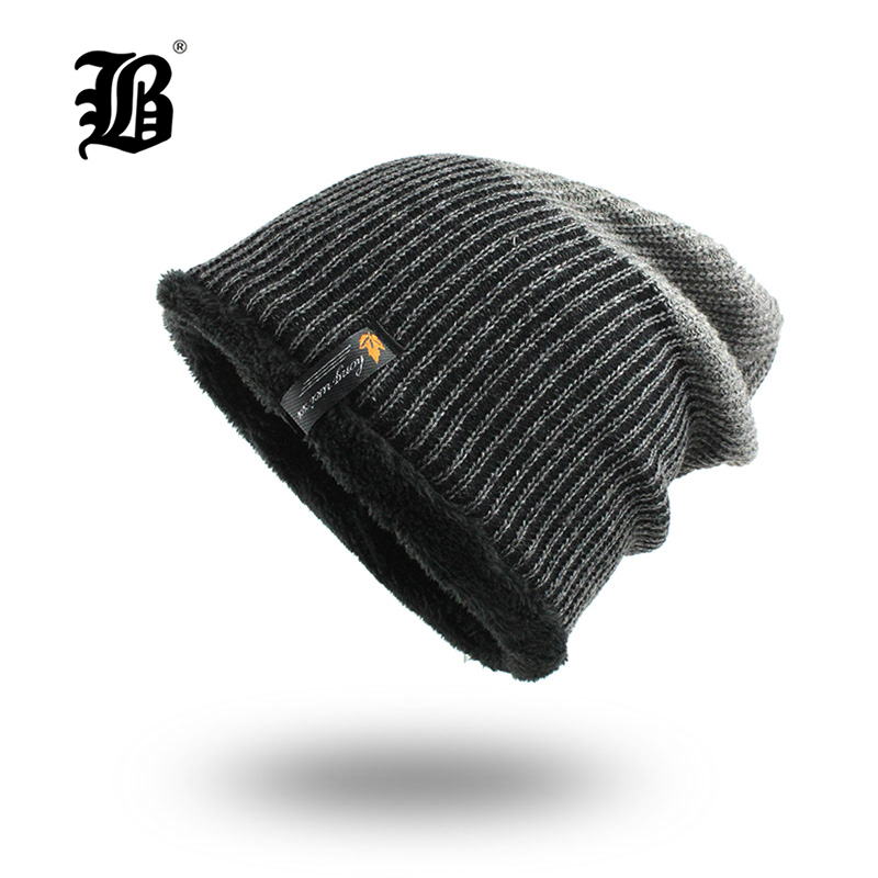 [FLB] Stylish   Skullies     Beanies   Winter Hats Man Thick Warm Winter Hat Male Thick Hat   Beanies   Cap Men's Winter Caps toucas F18046