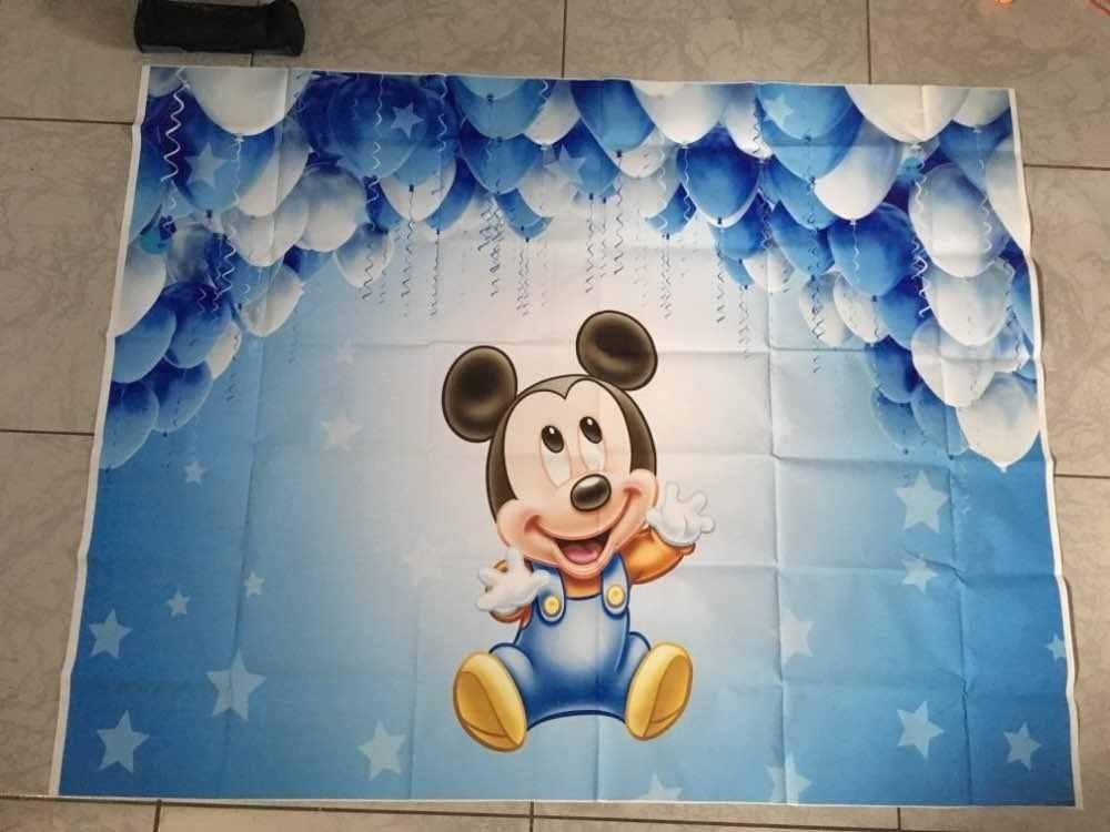 Фон для фотосессии новорожденных детей на день рождения BlueMinnie белые синие шары на заказ Фотостудия