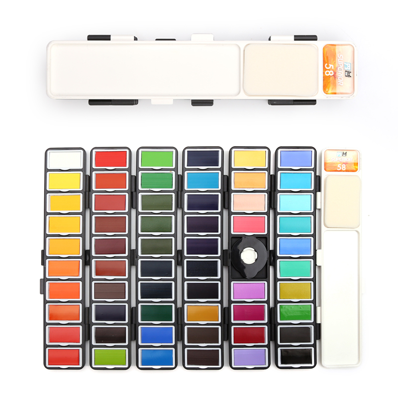 Image 4 - New 18/38/58Colors Fold Solid Watercolor Paint Set With Water Brush & Gifts Box Watercolor Pigment For painting Water colorsWater Color   -