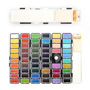 Image 4 - Yeni 18/38/58 renk kat düz suluboya boya seti ile boya fırçası ve hediyeler kutu suluboya Pigment boyama su renkler