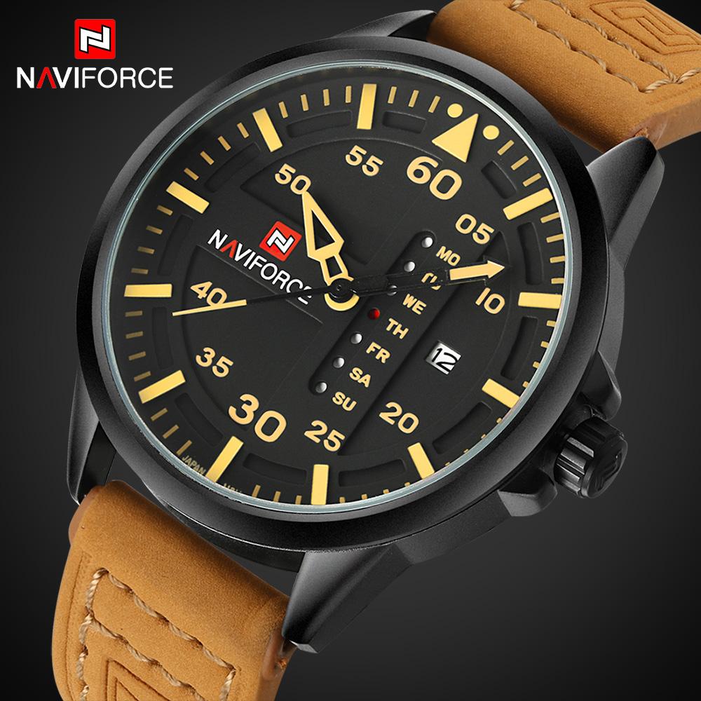 Prix pour NAVIFORCE Hommes Casual Sport Étanche Montres Hommes Quartz Date Horloge Hommes Armée Militaire En Cuir Montre-Bracelet Relogio Masculino