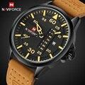 NAVIFORCE Relógios Data Homens Quartzo Relógio Do Esporte Dos Homens Casuais À Prova D' Água Homens Do Exército Militar de Couro Relógio de Pulso Relogio masculino