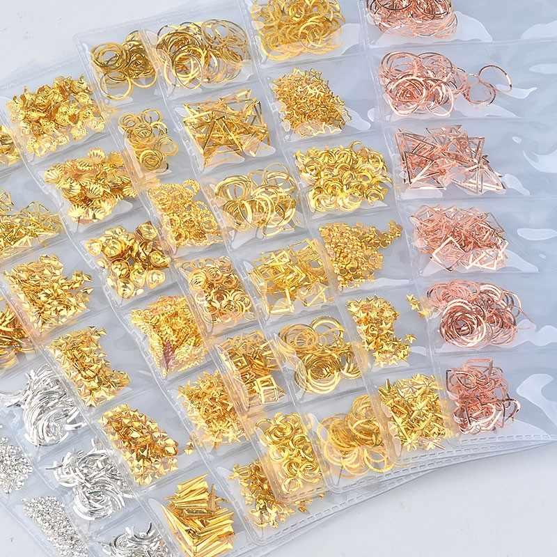 1 paquete de decoración de uñas 3D oro plata mezclada hueco Metal marco Ocean Seashell clavos metálicos remaches DIY manicura 065