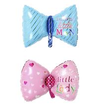 Urijk Cute Cartoon Pink Blue Bow Foil Balloons Boys Girls Birthday Party Decoration Little Lady Man Ballon Photo Prop 76*45cm(China)