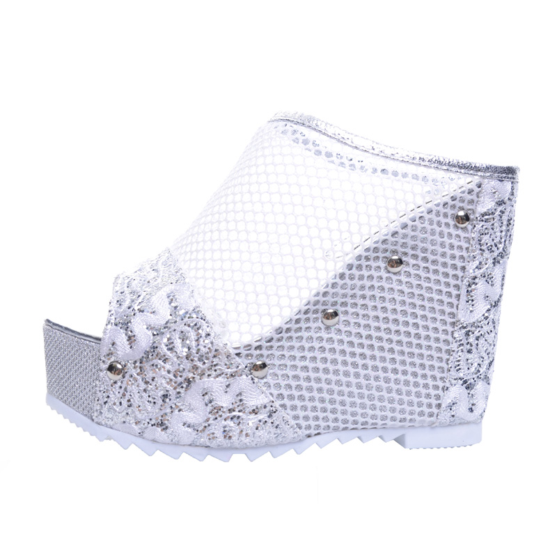 HEE GRAND Mesh Wedges High Heels 2017 Summer Platform Sexy Mesh Shoes Woman Slip On Gold Silver Slippers XWZ4015 hee grand 2017 gladiator sandals gold silver shoes woman summer platform wedges glitters high heels casual women shoes xwz4018