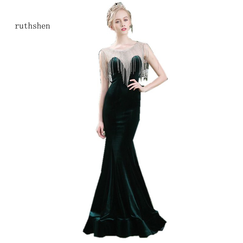 ruthshen Elegant Formal Party   Dress   Tassel Diamonds Velour Mermaid   Evening     Dresses   Dark Green Special Occasion   Dresses   2018 New
