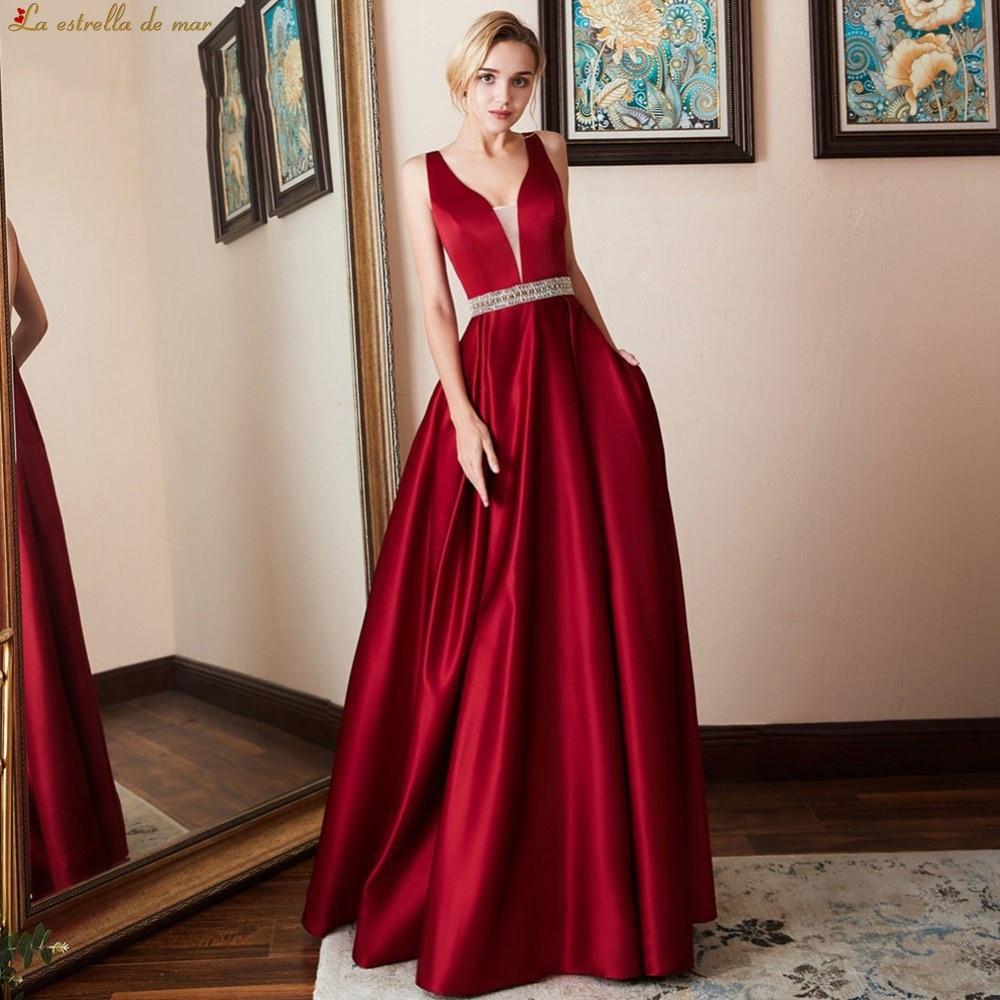 Vestido de madrinha de casamento longo 2019 new sexy V-neck satin crystal belt a Line burgundy   bridesmaid     dresses   plus size
