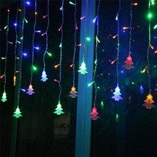 EU 220 V 4.5 M 96 LED Icicle Led Đèn Màn Chuỗi Đèn Giáng Sinh Cổ Tích Wedding Vườn Vòng Hoa Năm Mới cửa sổ Decoratio