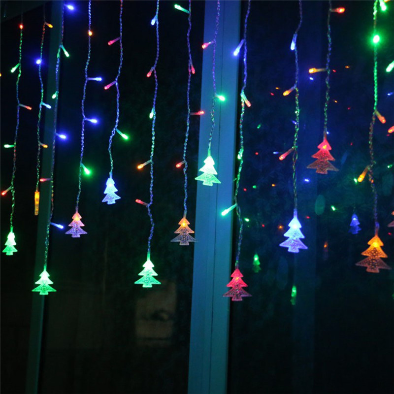 EU 220V 4.5M 96 LED Icicle Led Curtain String Lights Christmas Fairy Lights Wedding Garden Garland New Year Window Decoratio