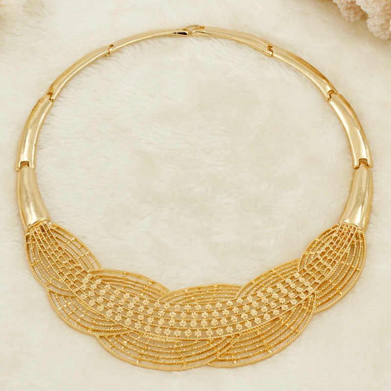 Verkauft Out Großhandel Neue Afrikanische Türkische Frauen Schmuck Sets Weizen Charme Mode Braut Hochzeit Halskette Gold Schmuck Sets Geschenk Box