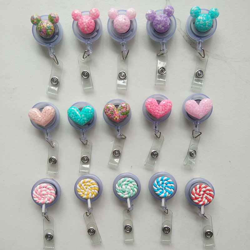 5pcs/lot Cute Heart Design Retractable Reel For Bus Credit Card Holder for kids nurse PY166