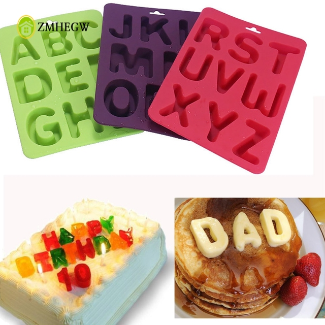 3pcs Set Of Letters Silicone Handmade Cake Decoration Diy Mold Birthday Decals Creative Kitchen
