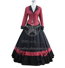 Civil War Cotton Satin Tartan Gown Dress Cosplay Cool Style With Bowknot Decorated Elegant For Halloween Party Fast Fashion