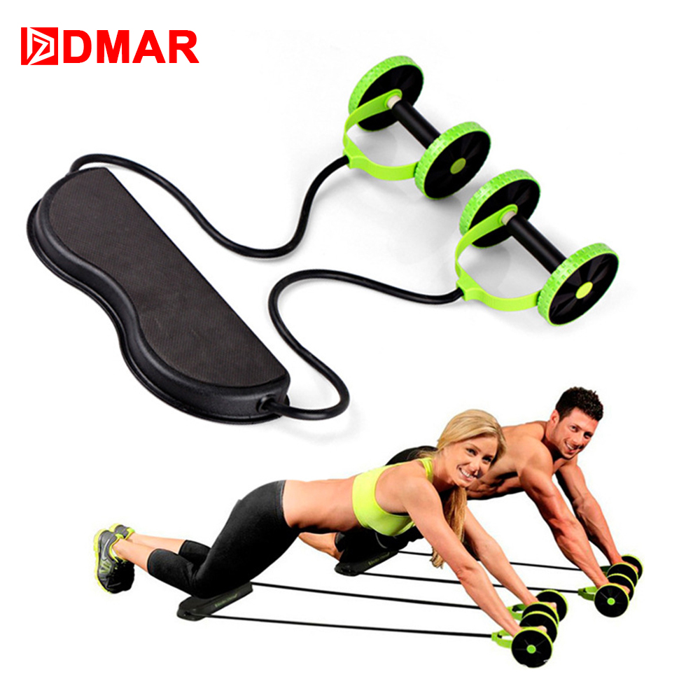 DMAR AB Abdominal Wheels Roller Stretch Multi-functional Resistance Pull Rope for Muscle Trainer Exercise