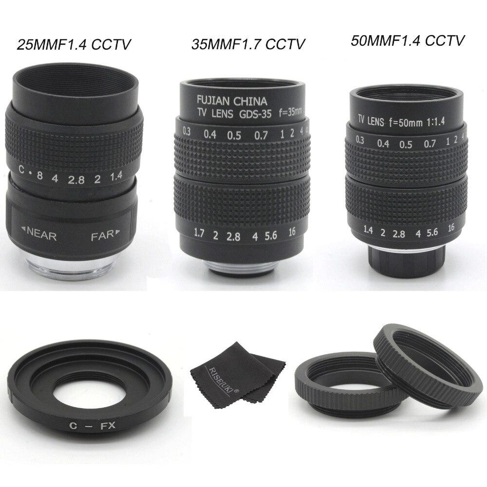 Fujian 25mm F1.4 película CCTV lente de la Cámara + 35mm f1.7 lente + 50mmf1. 4 Cámara lente para Fuji Fujifilm X-E2 X-E1 X-Pro1 X-M1 X