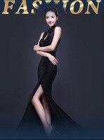 Потрясающие блестящие черные со стразами разрез сзади платье сбоку Разделение полые сексуальное вечернее платье Платья для вечеринок для