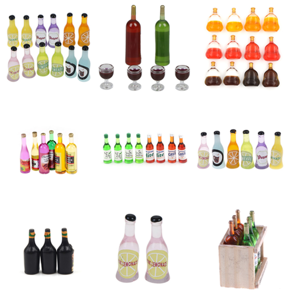 1/2/3/4/5/6 Pcs Colorful Wine Bottles Dollhouse Miniature 1:12 1:6 For Kids Girls Toys Dinette Enfant Dollhouse Kitchen Toys
