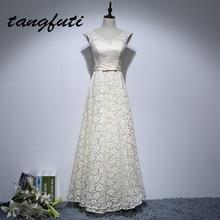 Olcsó a menyasszony a menyasszonyi ruhák Hosszú 2017 A vonal V nyak csipke Appliques Formális ruhák New Evening Party női ruhák