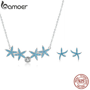 Image 1 - bamoer Ocean Blue Starfish Necklace Earrings Jewelry Sets Authentic 925 Sterling Silver AAA Zirconia Stone Jewelry ZHS118