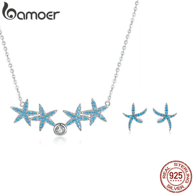 bamoer Ocean Blue Starfish Necklace Earrings Jewelry Sets Authentic 925 Sterling Silver AAA Zirconia Stone Jewelry ZHS118