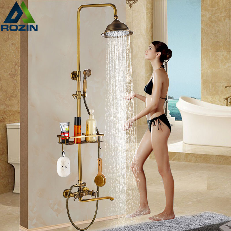 Luxury Bath Shower Faucet with Long Tub Spout Dual Handle Rainfall Shower Mixers Kit Brass Shelf Handshower Swivel Tub Can black oil rubbed brass bathtub mixer faucet dual handle bath shower set with hand shower swivel tub spout ntf511