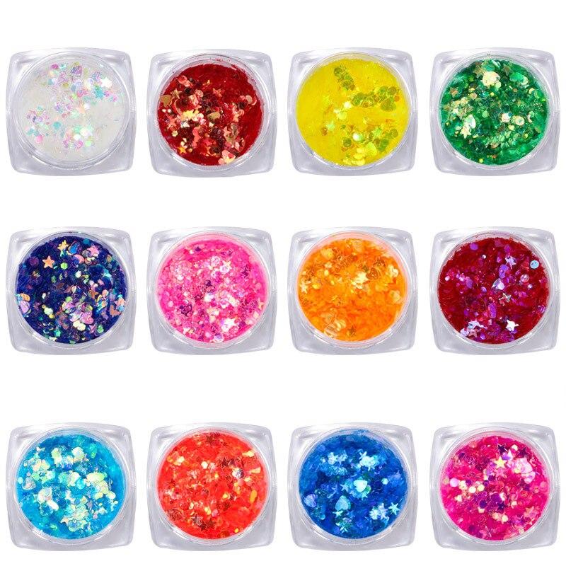 WunderschöNen 12 Arten 3-10g/box Fünf-punkt Nail Art Glitter Herz Und Sterne Glitter Mix Plus Freies Geschenk * 1tsp Für Nagel Acryl/gel/polnisch Ausreichende Versorgung