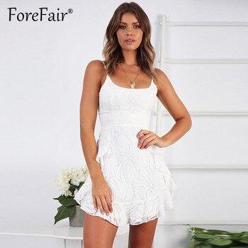 Forefair Women White Mesh Dress Elegant Vestidos Mujer 2019 Summer Sleeveless Backless Spaghetti Strap A Line Mini Ruffle Dress