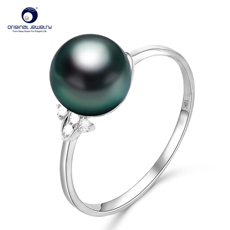 [YS] 18K Solid White Gold Pearl Ring 8-9mm Black Tahitian Pearl Ring Fine Jewelry kcchstar luxury dual pearl gold plated ring golden white us size 8
