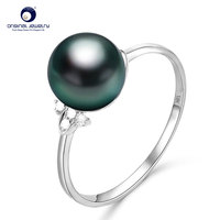 [YS] 18K Solid White Gold Pearl Ring 8 9mm Black Tahitian Pearl Ring Fine Jewelry