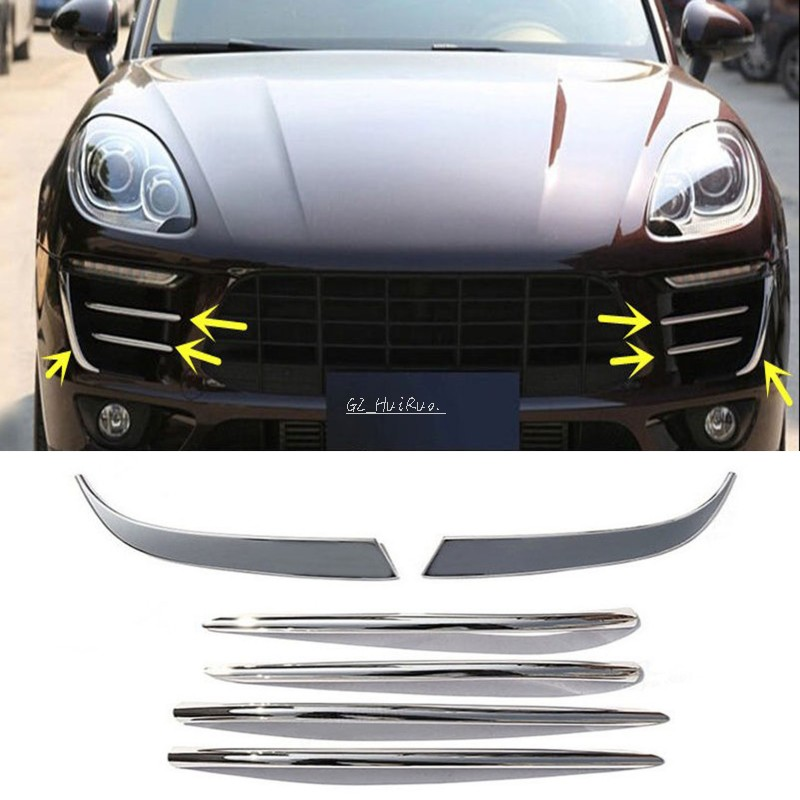 6PCS ABS Plating Front Fog Light Decorative Trim Strip-type For Porsche Macan 2015-2016 Car styling 6 pcs lot metal plating processing leather handbag aglet link buckle decorative accessories
