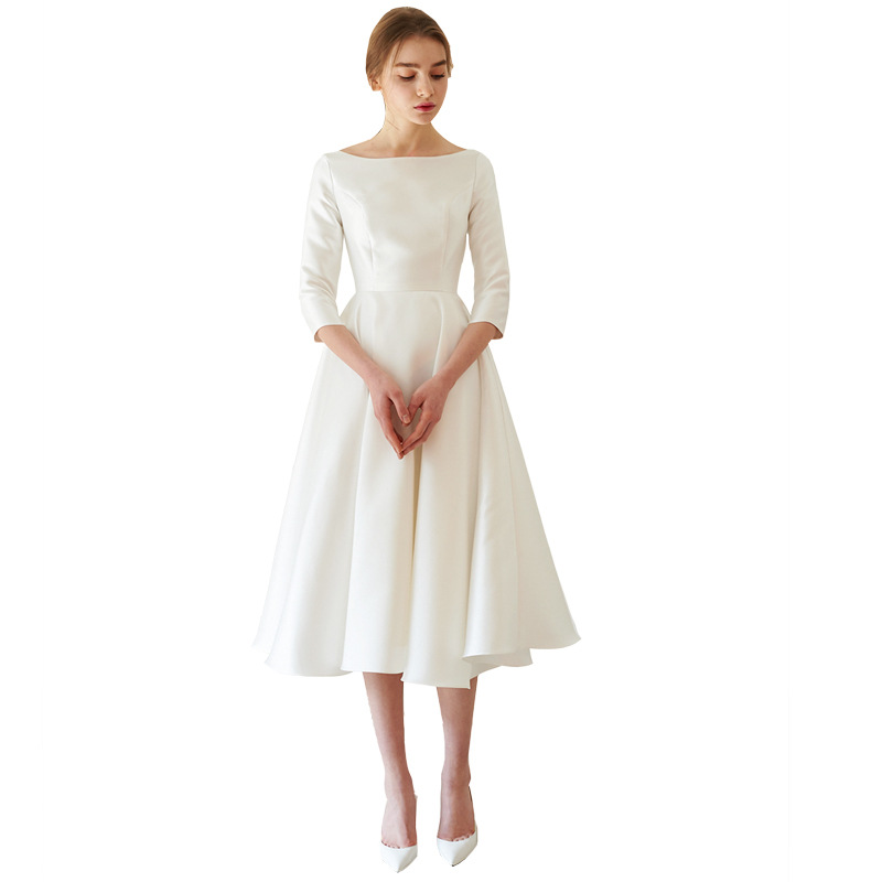 Holievery Scoop Neck Satin Cocktail Dresses 2020 Simple Tea Length Party Dress Ivory Beach Formal Gowns Robe De Soiree