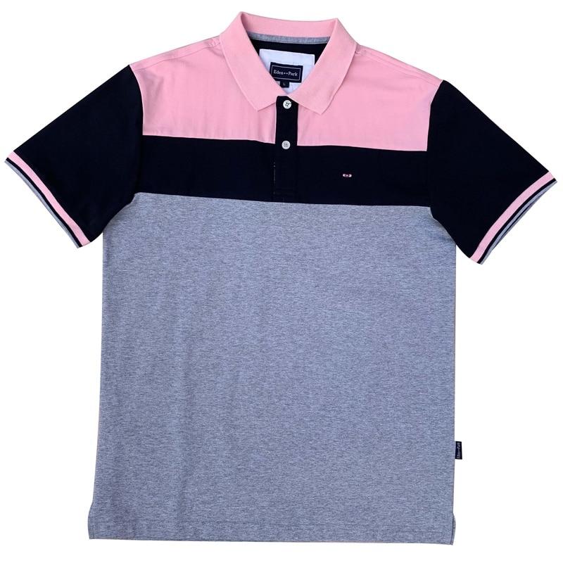 2019 New Men's  France Brand Design Eden Park Short Sleeve Polos Men Polo Shirt Sweatshirt Patchwork Homme Cotton Materia